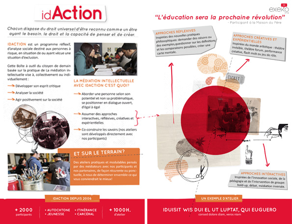 Layout pamphlet IdAction pour l'organisme Exeko